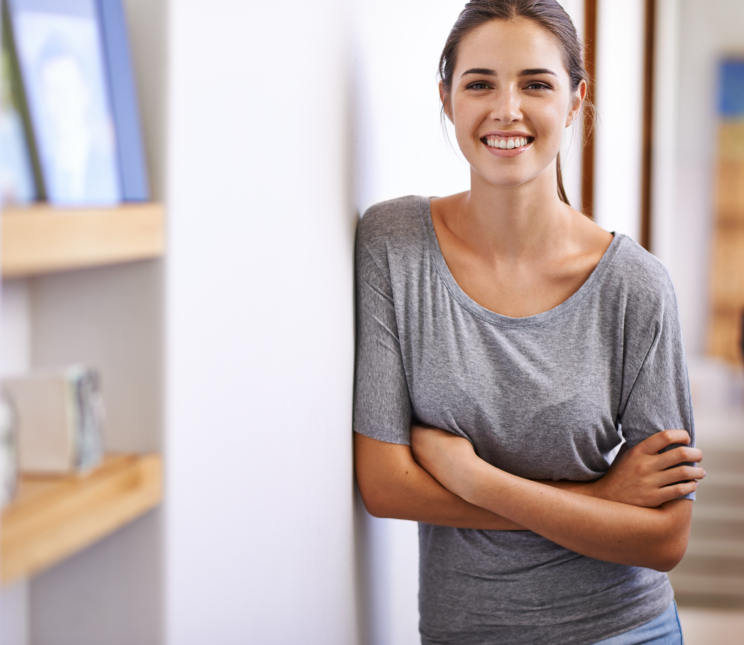 Portrait of an attractive young woman in a home environment