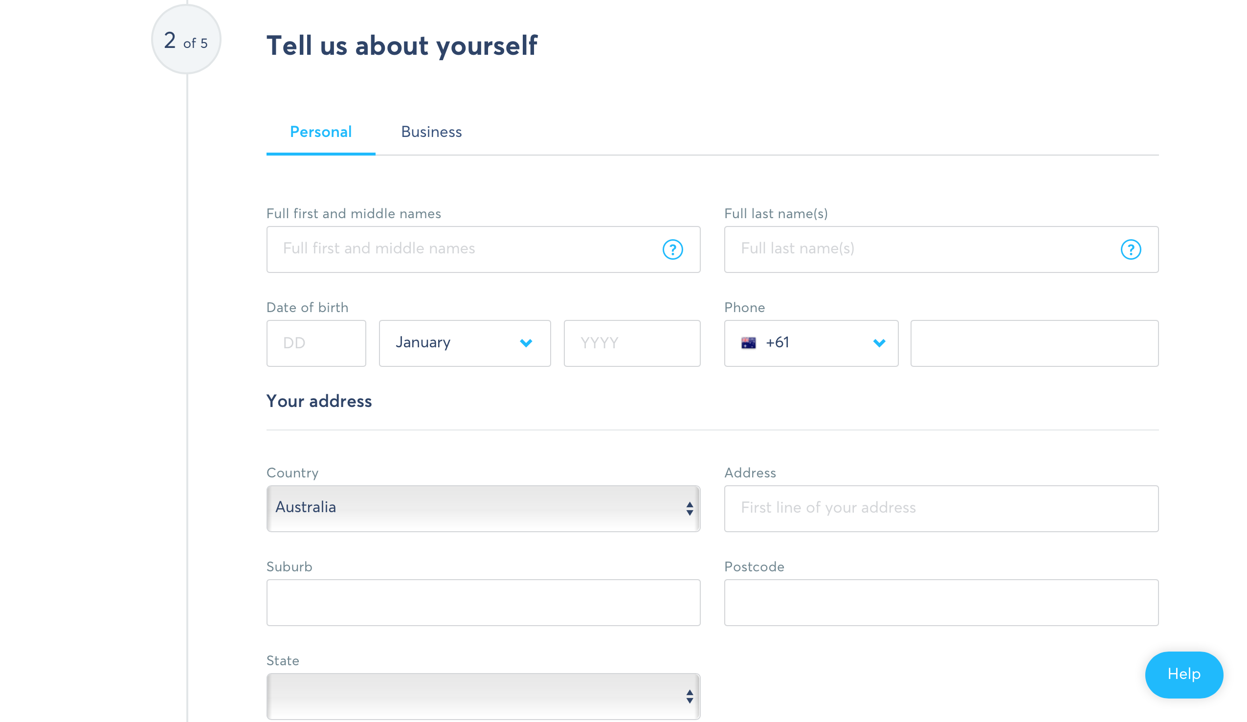 Registering personal details to create account