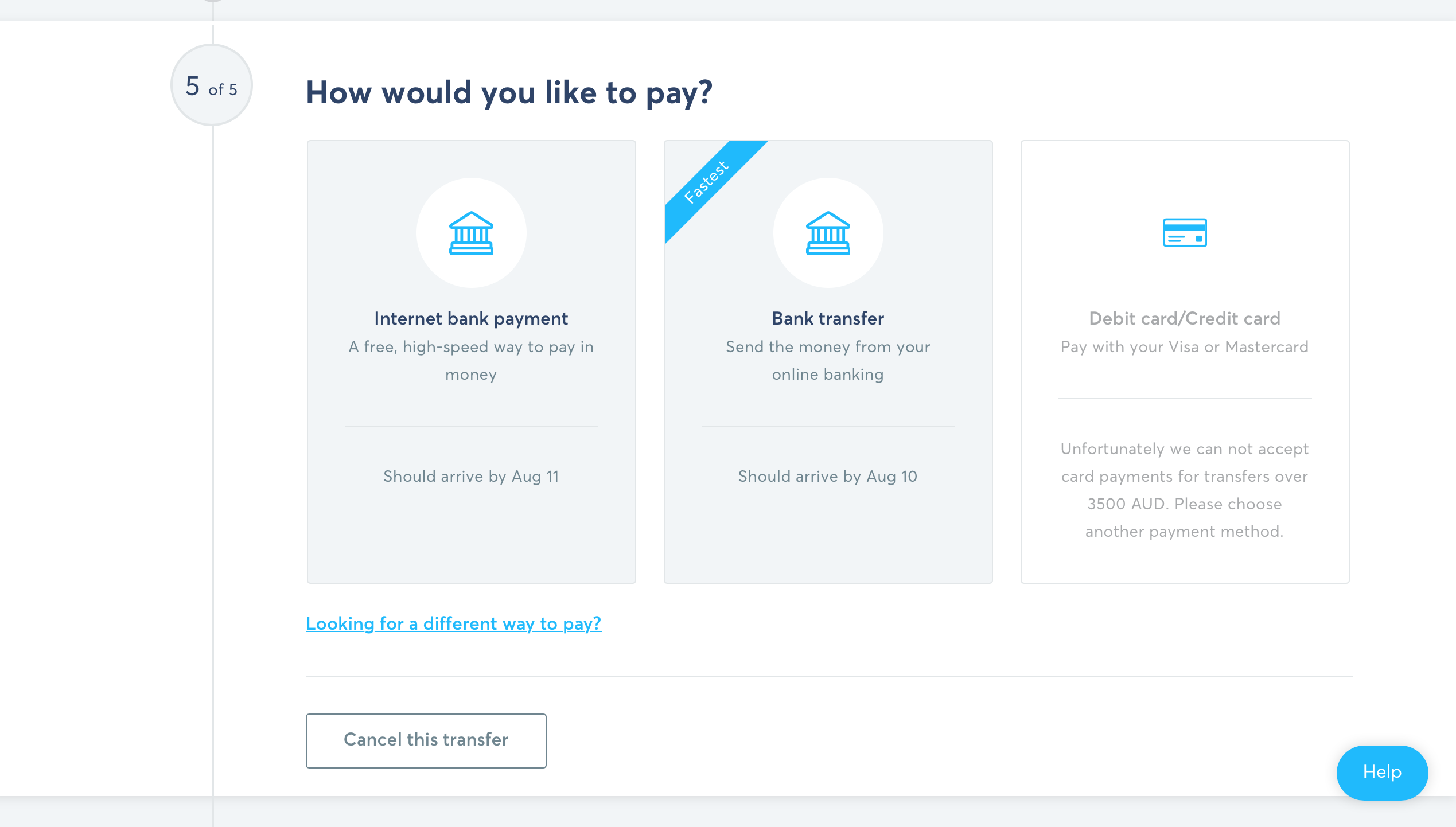 Screenshot of different ways you can pay online internet bank payment, bank transfer, debit card, credit card