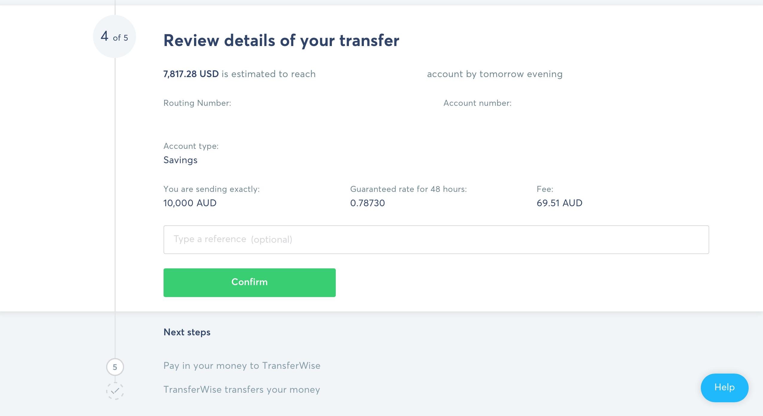 Screenshot of review details when making money transfer