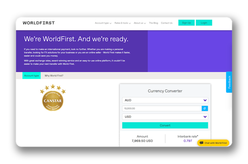 TransferWise website screenshot.