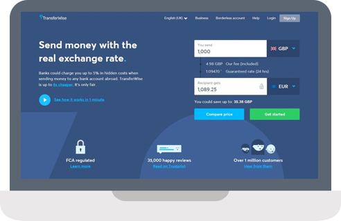 TransferWise website screenshot.